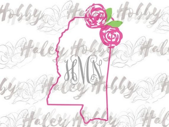 Mississippi Lilly Southern Monogram Svg Silhouette Digital Etsy