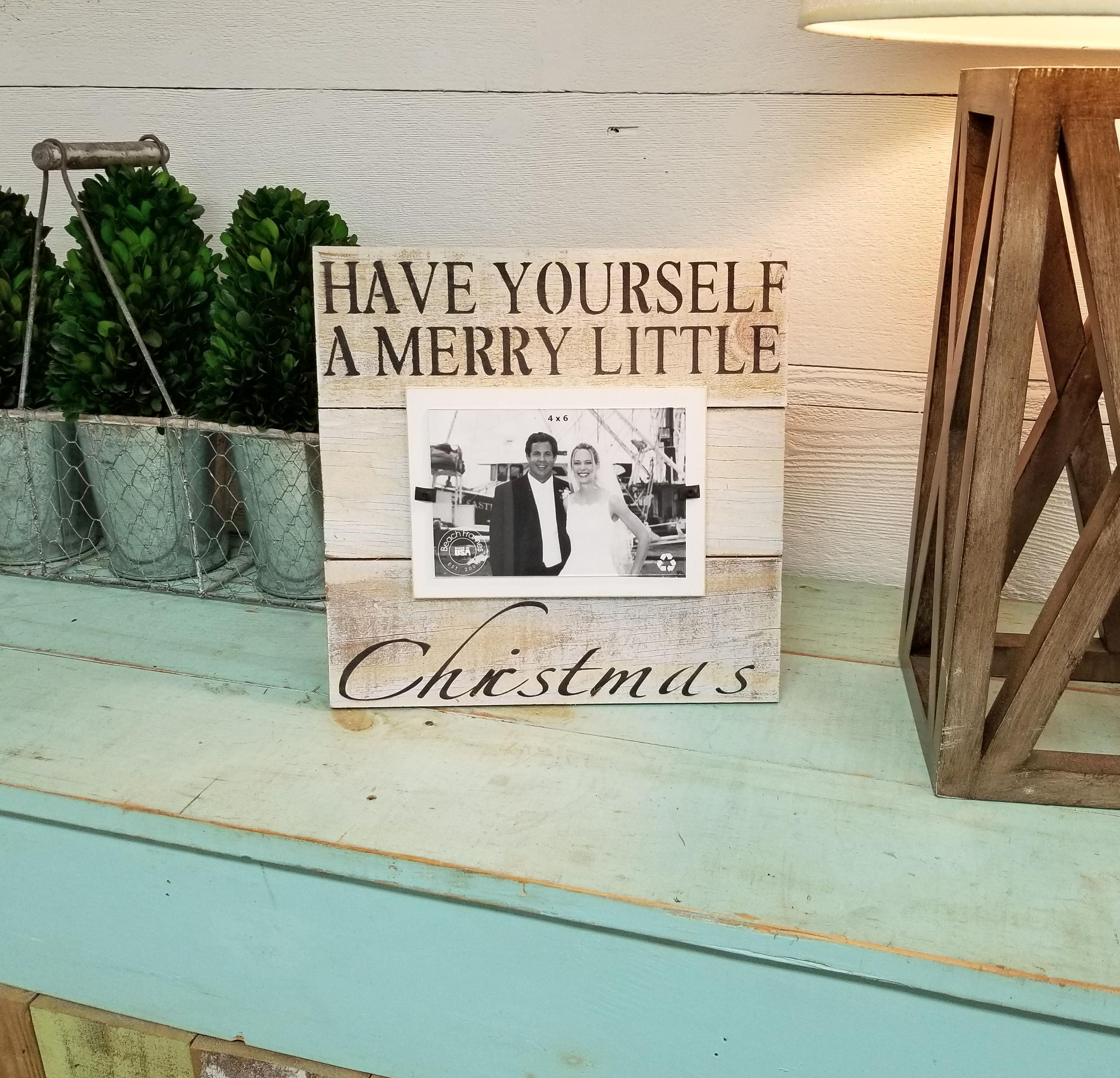 Merry Christmas Picture Frame 4x6 Shabby Chic Rustic Frame