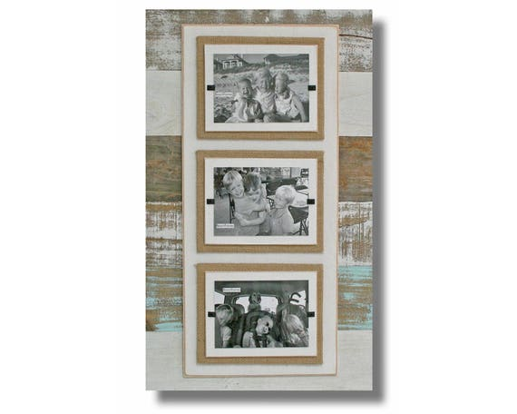 Triple White Sea Mist Washed Reclaimed Wood Picture Frame Etsy