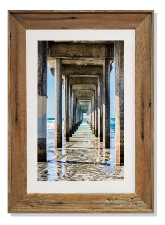 Under Pier Art Reclaimed Wood Frames coastal living home | Etsy