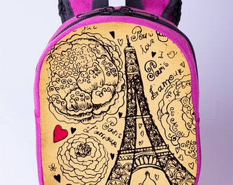 ab2c540289 Paris backpack for toddler Eiffel Tower backpack Kids canvas backpack Pink  toddler backpack girl Preschool backpack girl