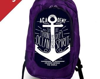 5330d7b25a SALE 20% OFF Anchor print backpack Navy backpack Marine backpack Mens  backpack Travel backpack canvas Backpack laptop Large backpack