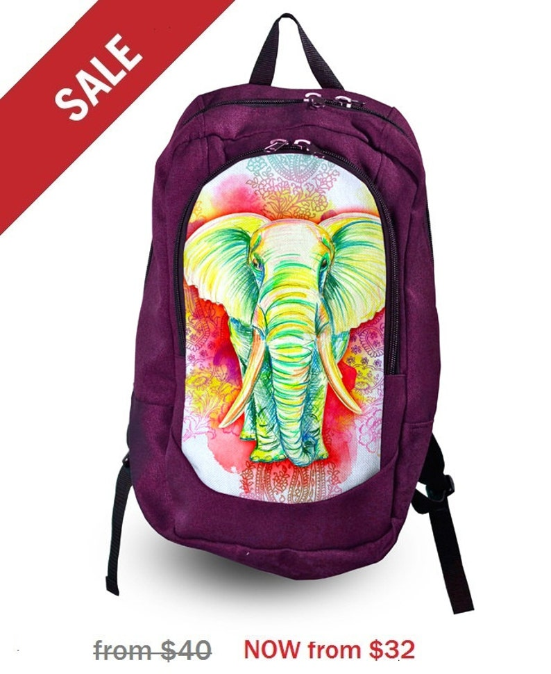 672e16a3e1 20% OFF SALE Elephant print backpack Purple backpack Women
