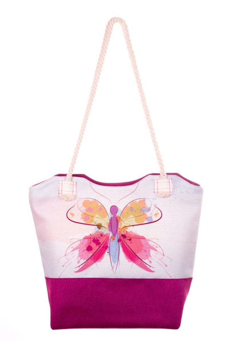 0eb35d4f3 Butterfly Print Bag Beach Bag White and Pink Handbag Shoulder | Etsy