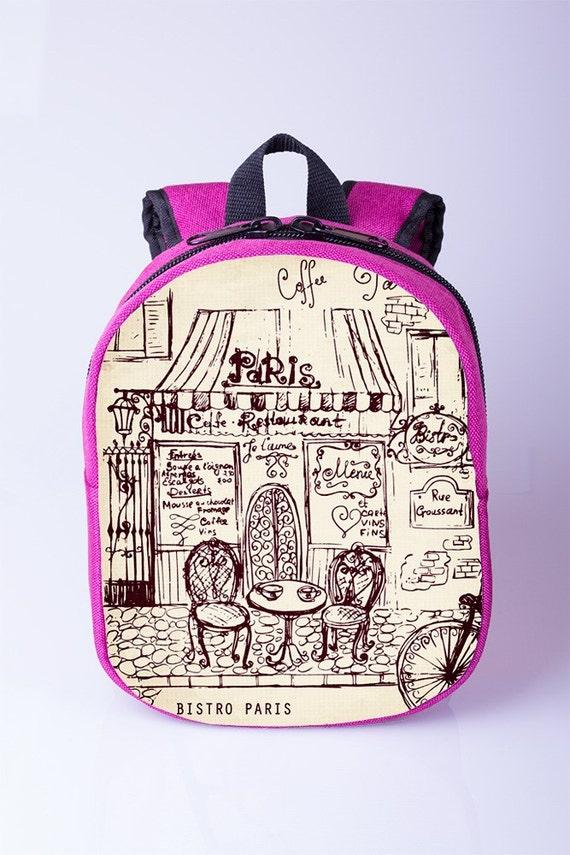 257efe62a5 Paris print toddler backpack Small toddler backpack Pink