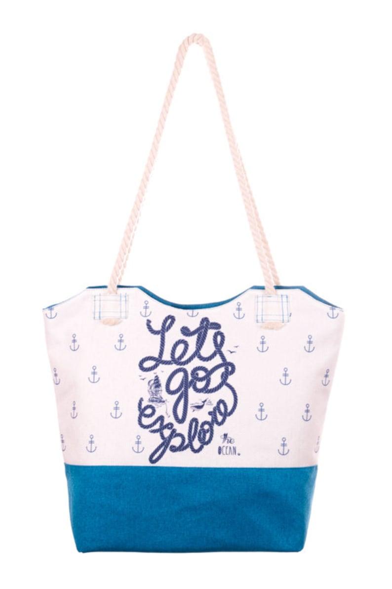 0d07c97b6 Vamos a explorar Print bolso playa bolso blanco y bolso azul | Etsy