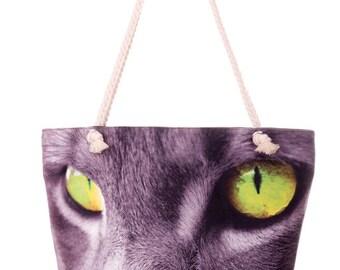 Cat Printed Bag Cat Shoulder Bag Tote Purse Cotton Handbag Shopper Purse Grey Tote Bag Fabric Handbag Photo Handbag Large Shopper Bag