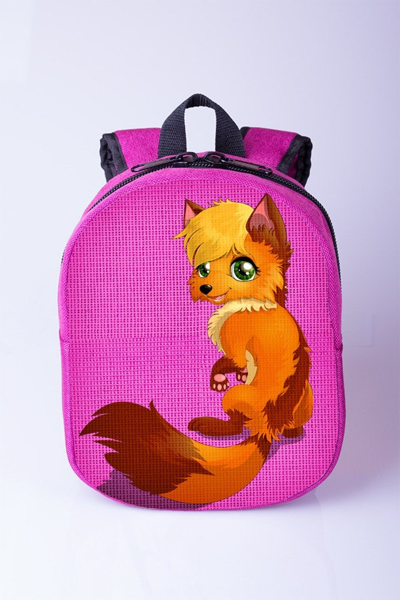 57bae5700a Red fox print backpack Girls backpack Pink backpack Toddler