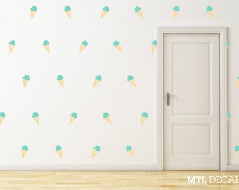 45 X Ice Cream Cones Wall Decal / Wall Sticker / Wall Pattern / Kitchen Decor