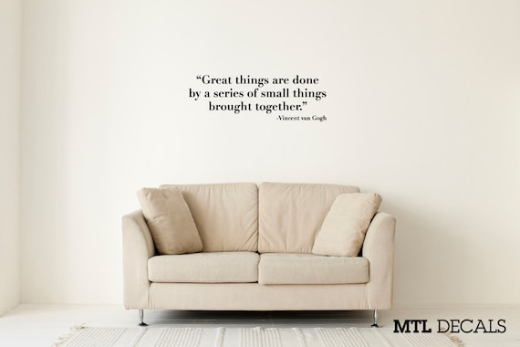 Slaapkamer Muur Quotes : Grote dingen muur sticker vincent van gogh citeer muur etsy