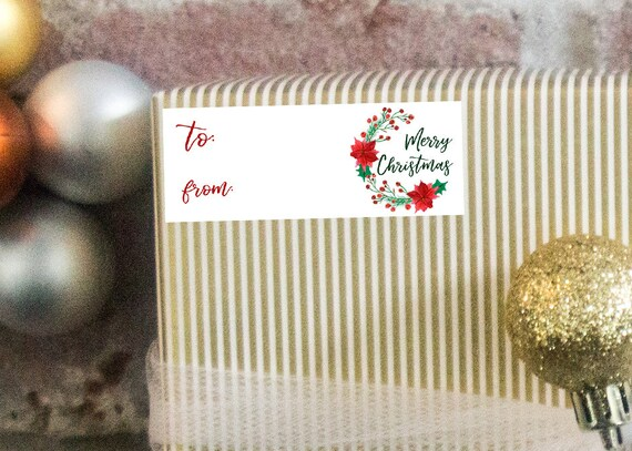 christmas gift tag stickers printable avery 5160 gift etsy