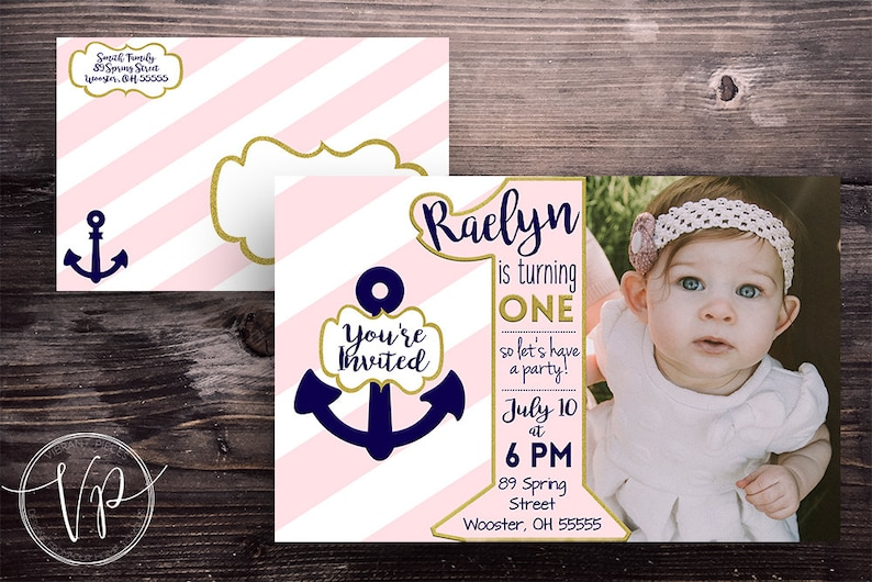 Girls/' first birthday party invitation kit pink gold and navy preppy nautical theme