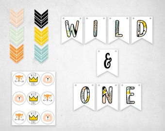 Wild One Birthday | Printable | First Birthday | Wild Birthday Boy | Woodland |1st Birthday | Banner |