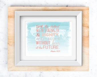 Proverbs 31:26 on World Map | Nursery Wall Art printable 8x10 and 5x7
