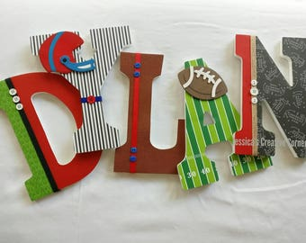 Sports Nursery Decor, Sports Wooden Letters, Football Wooden Letters Boy,  Football Decor, Boy Bedroom Decor, Nfl Room Decor