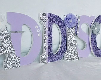 Lavender and grey nursery, Girls nursery letters, custom wall letters, hanging letters for nursery, girls room decor