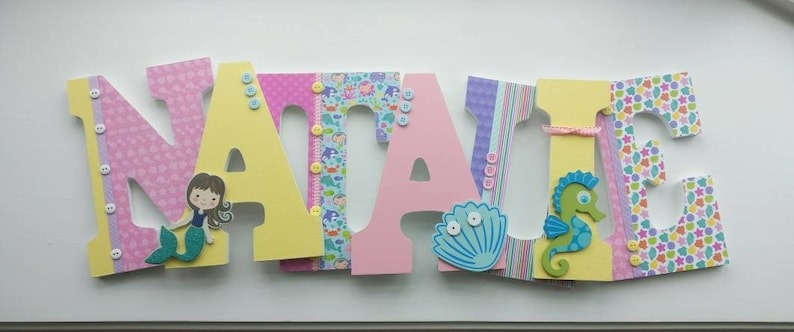 Mermaid Letters Wooden Letters Girl Room Decor Mermaid Decor Pink And Yellow Letters Hanging Letters Girl Nursery Letters