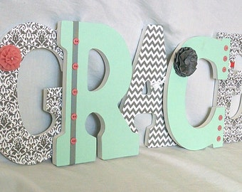 Mint and grey nursery letters, Wooden letters, girl nursery letters, girl's room decor, mint nursery decor, grey nursery decor