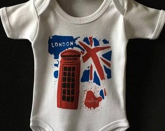 d04d760b8a50 London Red Phone Box London is Calling Union Jack Splashy Baby Onesie  London Baby Bodysuit Newborn Baby Gift