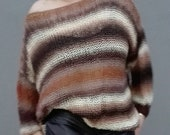 Oversized handknit sweater, boat neck, portuguese 2019 winter fashion, loose fit for women, teen, warm brown shades, soft light cozy wool