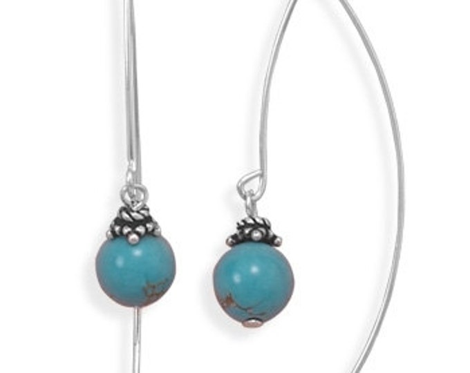 Turquoise Long Wire Earrings