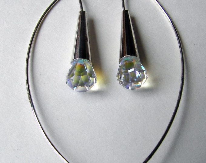 Dew Drop Earrings - Opalescent Crystal