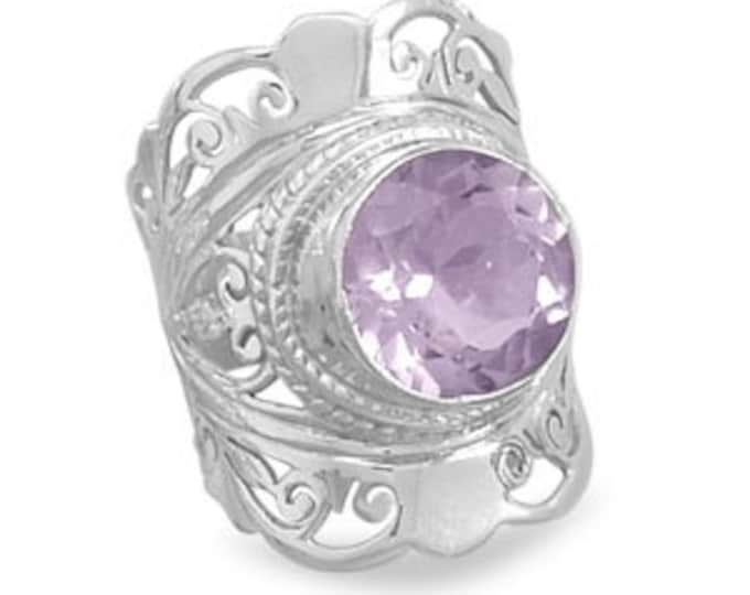 Ornate Pale Amethyst and Silver Ring