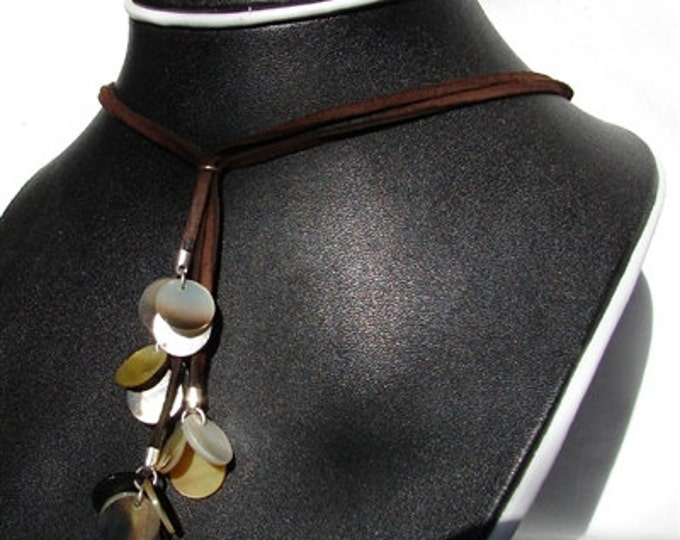 Black Lipped Shell & Leather Necklace