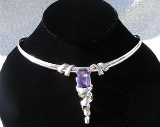 Silver Nested Purple Amethyst Omega Necklace