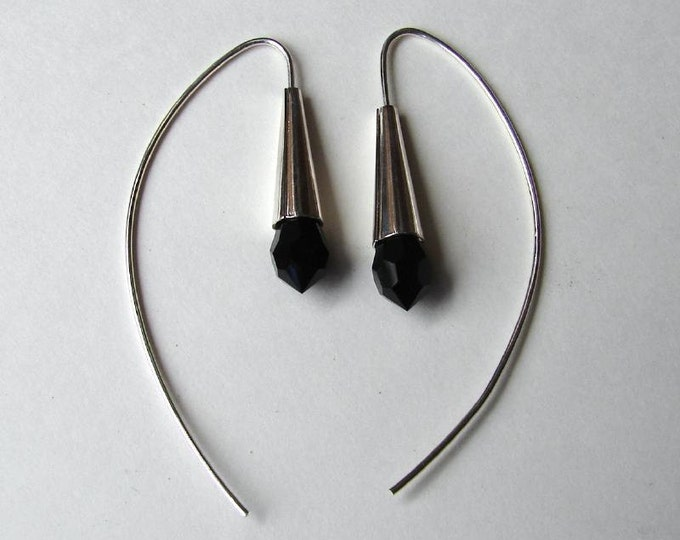 Dew Drop Earrings - Jet Black Crystal
