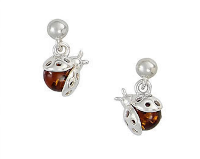 Amber Lady Bug Earrings