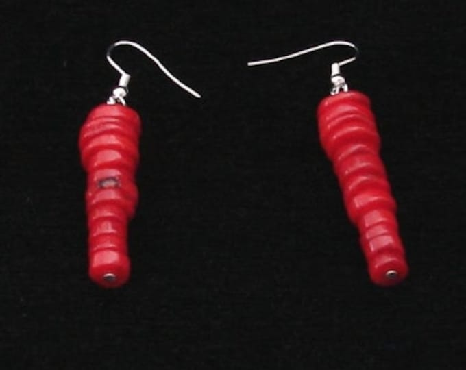 Red Bamboo Coral Earrings