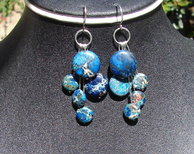 Cascade Earrings - Blue Impression Jasper