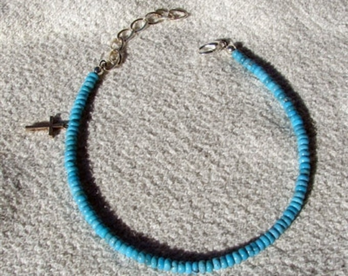 Turquoise Silver Cross Anklet