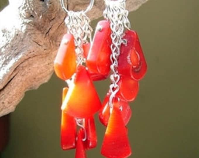 Red Coral Tear Earrings