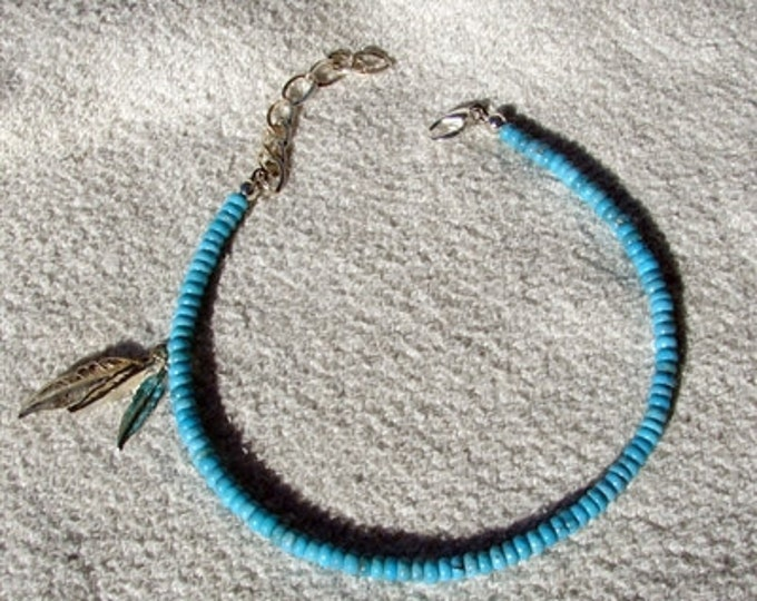 Turquoise Silver Feathers Anklet