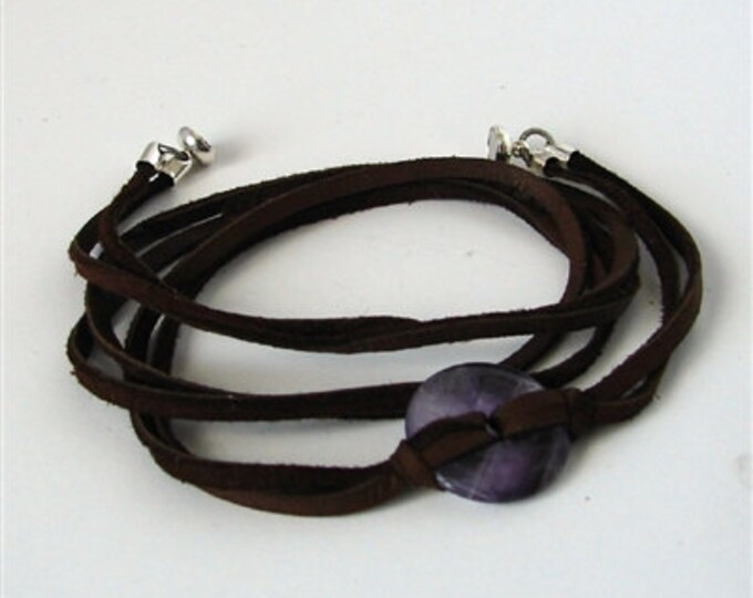 Amethyst Leather Wrist Wrap