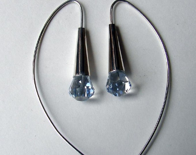 Dew Drop Earrings - Blue Shade Crystal