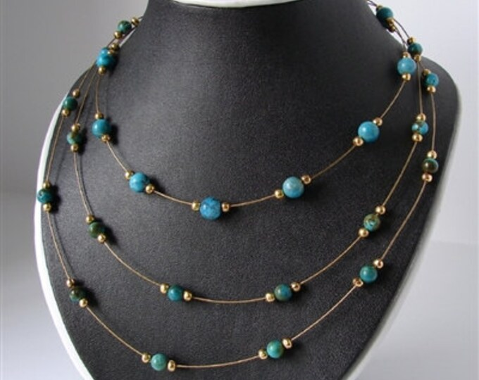 Turquoise Vinyards Design 3 Strand Necklace.