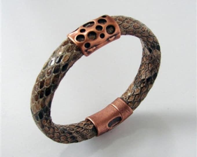Copper Head Leather Bracelet, faux snake skin.