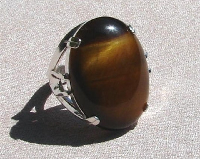 Tigers Eye Ring - Large Cabochon in Sterling Silver Setting