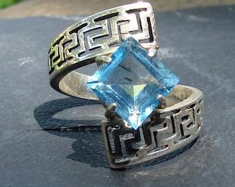 Tribal Blue Topaz Ring