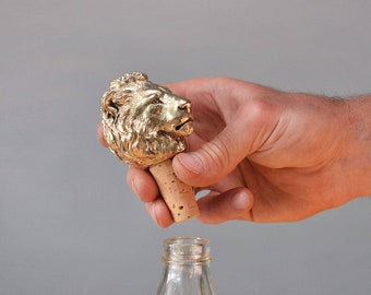 Bottle Stopper Lion. Wine Bottle stopper gold color Bottle cork