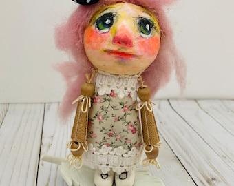 Charmaine Art Doll   OOAK   Girl Sculpture   Folk Art Girl   Paper Clay Primitive Child