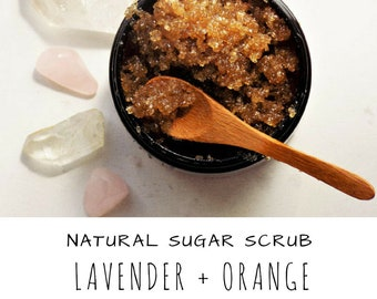 Lavender -  Orange -  Sugar Scrub - Natural - Body Scrub - Handmade - Gift for Mom - Gift for her - Birthday gift - self care
