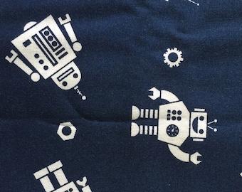 Personalized Navy Magic Moon Robot Minky Baby Blanket