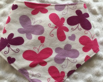 Reversible Baby Bandana Bib- Butterflies and Flowers in Pink, Lavender and Purple
