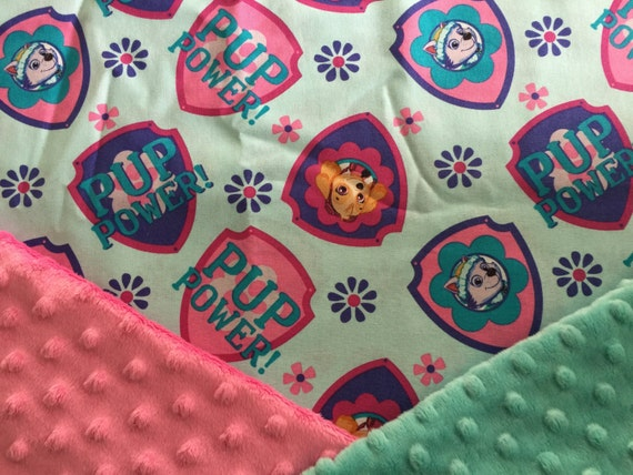 Personalized PAW PATROL Skye and Everest Girl Minky Baby Blanket