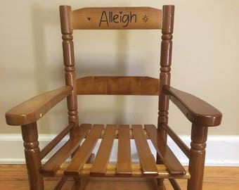 Wood burned Childrens rocker, rocking chair, personalized