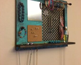 Jewelry organizer, hanging jewelry shelf, jewelry display with mirror